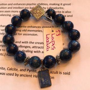 Lapis Lazuli Beaded Bracelet w/ Lapis Charm